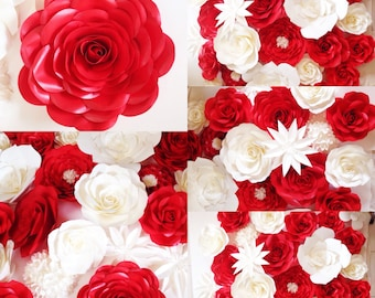 Red and white paper flower backdrop