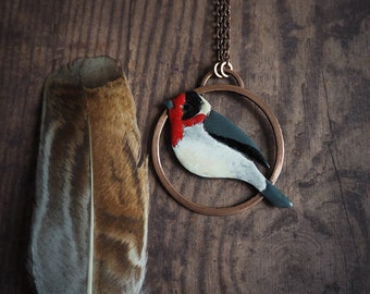 Red-faced warbler pendant nature inspired bird necklace red black white bird modern necklace for nature lover colorful jewelry gift for her