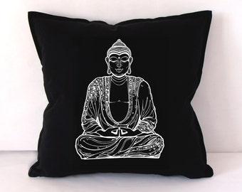 Buddha Pillow Cover, Buddha Cushion Cover, Screen Printed Buddha Cushion, Yoga Accesories, Yoga Home Decor, Cushion Cover, Chill Out Pillow