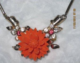 Vintage Gorgeous Thermoset Orange and Rhinestone Flower Necklace...2872