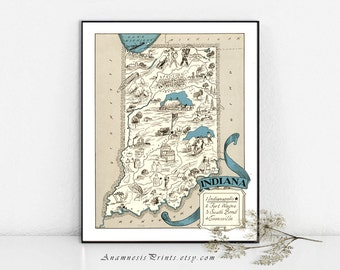 INDIANA MAP PRINT - size & color choices - personalize it - vintage map for many gift occasions - lovely pictorial map for home and office