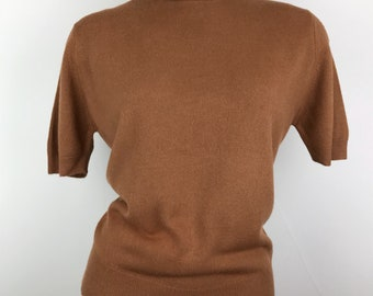 Vintage 1950s Caramel Pullover Kitten Sweater Deadstock New With Tags