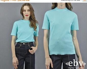 Top Top Aqua col montant côtelé Top des années 70 des années 1970 haut col montant tricot côtelé tricot piscine l'eau bleu Turquoise Top d'été à manches courtes Top S