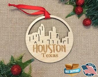Houston Texas Ornament *** Skyline Christmas Holiday Ornament *** TX