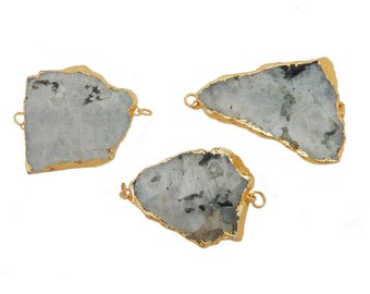 Moonstone Slab Double Bail Pendant with Electroplated 24k Gold Edge (S20B28-03)