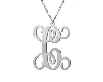 "One Letter Necklace,Single Initial Necklace,Personalized Initial Necklace,1"" inch Silver One Letter Necklace-%100 Handmade"
