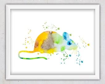 Mouse Print, Watercolor Print, Mouse Poster, Nursery Wall Art, Kids Print, Kids Wall Art, Digital Art, Printable Art, Animal Nursery Print