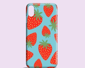 Strawberries phone case / iPhone X, iPhone 8, summer iPhone 7, 7 Plus, iPhone 6S, iPhone 6, iPhone 5/5S, Se, Samsung Galaxy S7, Galaxy S6,S5
