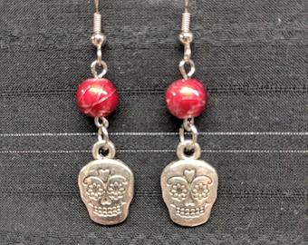 Skull earrings, Skull Jewelry, Sugar skulls, Sugar skulls earrings, Sugar skull jewelry, Sugar skull, Day of the Dead earrings,
