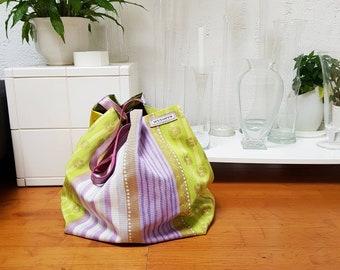 Mixed textile designer tote bag