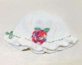 Handmade Crocheted Baby Bonnet/Hat