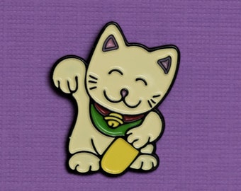 Maneki Neko Enamel Pin - Lucky Charm