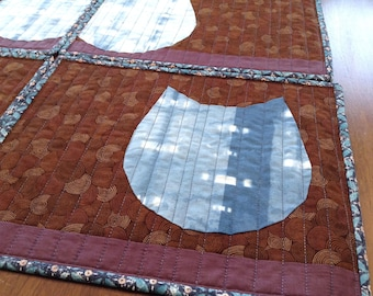 Cats, Placemats, Japanese style  - set of 4 - Brown