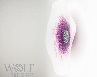 MADE TO ORDER Blown Glass Wall Art Sculpture White Poppy Flower with Purple Glass Wall Art