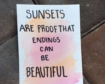 Watercolor inspiring quote post cards