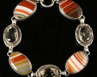 Scottish Citrine Cornelian Agate Silver Bracelet Circa 1930