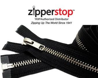 "7"" to 36""NICKEL Exposed Zipper YKK #5 Nickel Metal – Separating Black  (Select Length)~ZipperStop Wholesale Authorized Distributor YKK®"