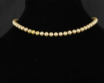 "15.5"" Vintage Glass Pearl Choker Necklace, Champagne, hand-knotted  on silk with pearl safety clasp"