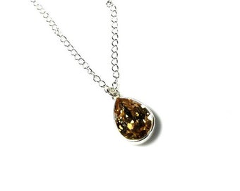 Amber Brown Swarovski Crystal Pendant Necklace Pear Shaped Pendant Jewelry Golden Shadow Crystal Necklace Silver OR Sterling Silver Chain