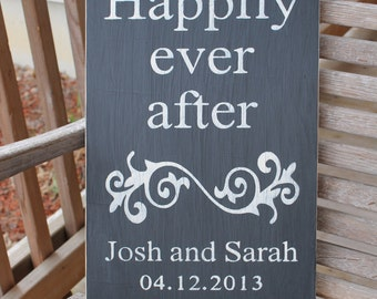 Custom Wedding Sign, Personalized Anniversary Wood Sign, Happily Ever After, Wedding Date Sign, Rustic Wedding Sign