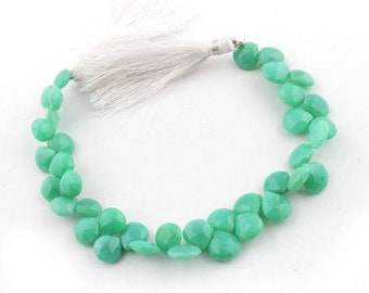 Memorial Day 1 Strand Excellent Quality Chrysoprase Faceted  Briolettes - Heart Beads 9mmx9mm-11mmx10mm 8 Inches SB2139