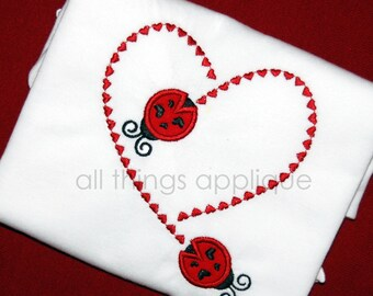 Ladybug Stitching Heart - Valentine Applique Design - Machine Embroidery Design - INSTANT DOWNLOAD