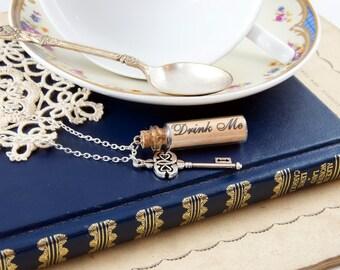 Drink Me Bottle Necklace - Alice in Wonderland Necklace - Alice in Wonderland Gift