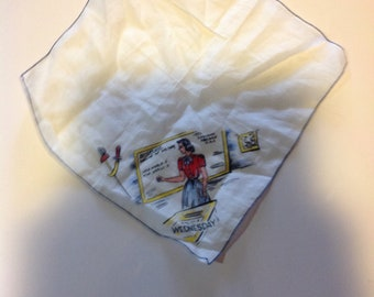 Vintage Day Of The week hanky Wednesday!