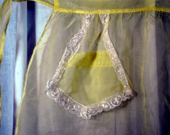 Vintage Apron Yellow Nylon Sheer with Lace