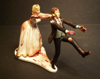 Halloween SALE Zombies Running Bride and Groom Funny Wedding Cake Topper Funny Scary Horror