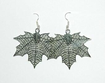 Silver Maple leaves earrings