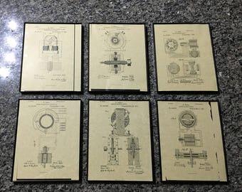 Framed Tesla Patent Prints - 6 Pack Assortment