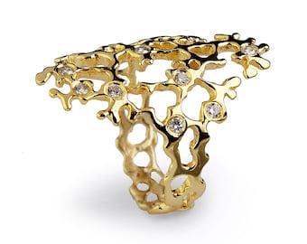 SEA SPRAY Sleek Diamond Ring, Gold Statement Ring, 14k Gold Diamond Engagement Ring Wedding Band, Organic Ring, Italian Fine Jewelry