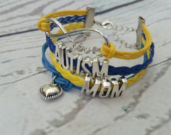 Autism Bracelet - Autism Mom Blue & Yellow Bracelet is a great gift for her, Autism Awareness and Aspergers Sydrome while wearing bracelet