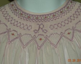 Hand Smocked Monogrammed Bishop Dress