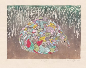 Ground Pangolin Linocut on Collaged Japanese Papers - Hand-printed image of the scaly mammal