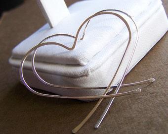 Sterling Silver Heart Hoop Earrings - Silver Hearts - Heart Hoops