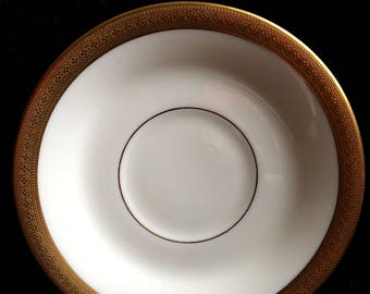 Set of 7 Rare Antique 1917 Lowell Gold Encrusted Saucer by Lenox
