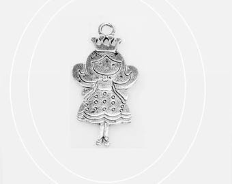 Girl with Crown / Princess - Charm's pendant silver - 47 x 23 mm