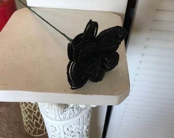 French Beaded Black Rose