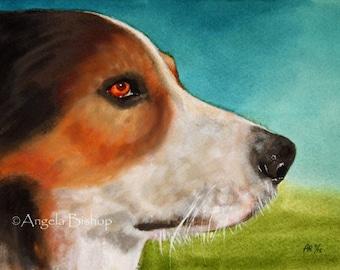 Beagle Painting Print, Dog, Art Print, Fine Art, Pet, Realism, Watercolor, 5 x 7, Painting Print, Animal, Nature, Portrait, Pastel