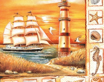 622 LIGHTHOUSE SAILBOAT and shells design 2 X 2 1 towel lunch size paper