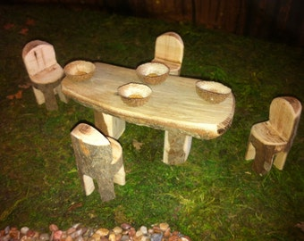 Wood fairy dining table with 4 chairs