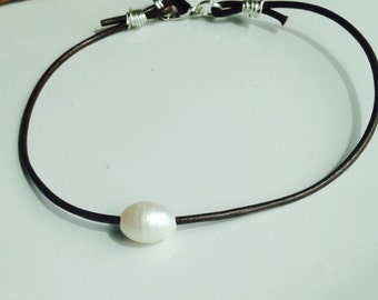 Leather and Pearl Anklet, Large Hole Pearl, Dark Brown Leather Cord, Silver Plated Wire, Silver Plated Clasp, Etsy Jewelry