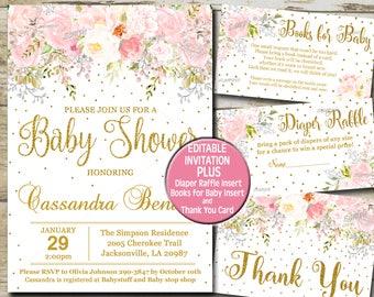 Baby shower invitation girl etsy baby shower invitation girl blush pink gold glitter invite kit baby girl shower filmwisefo Choice Image