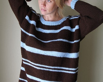 Brown blue sweater. Hand knitted oversized chunky sweater.