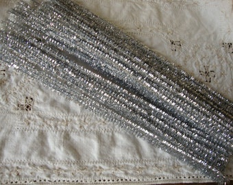 Silver Tinsel Stems trims wired 25 pieces 6mm 12in Craft supplies for Christmas pipe cleaners bling supplies sparkeley trim Kids Crafts