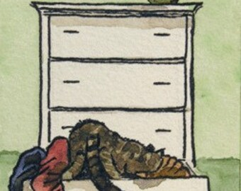 ACEO Kitty Cat in Bureau - Reproduction of Original Art