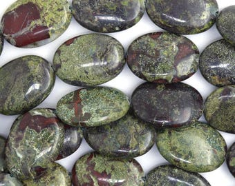 "25mm dragon blood jasper flat oval beads 15"" strand 36668"