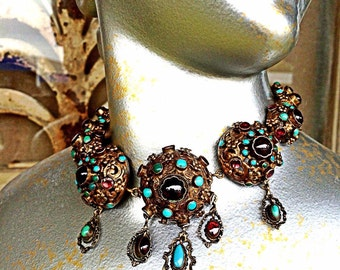 Antique austro hungarian choker turquoise,garnets and enamel victorian 1800s